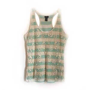 Rue 21 Lace Striped Racerback Tank